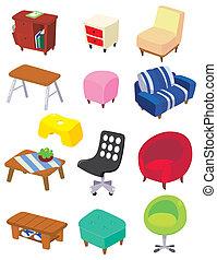 meubles, dessin animé, icône