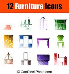 meubles, ensemble, icône