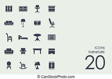 meubles, ensemble, icônes