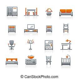//, meubles, graphite, série, icônes