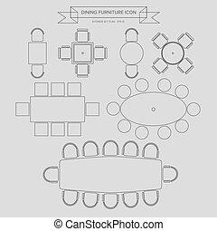meubles, icône, dinning, contour