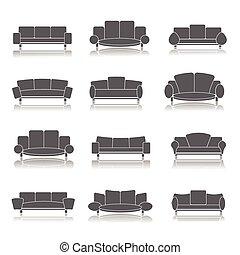 meubles, icônes, ensemble