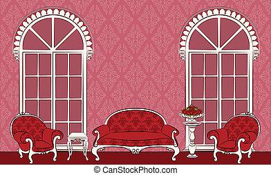 meubles, intérieur, vendange