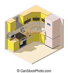 meubles, isométrique, cuisine, ménage, salle, appareils