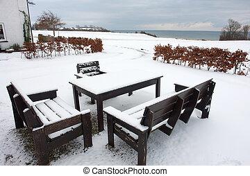 meubles, jardin hiver, temps