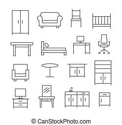 meubles, ligne, icônes