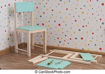 meubles, montage, enfants, chaise