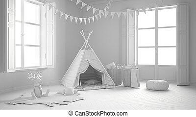 meubles, salle, fenetres, tente, deux, scandinave, projet, panoramique, conception, enfant, intérieur, blanc, total, moquette