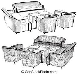 meubles, salle, habiter moderne