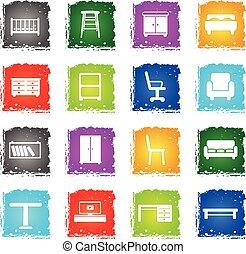 meubles, simplement, icônes
