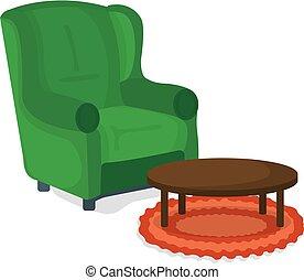 meubles, symbole, fauteuil, vecteur, concept., badge., dessin animé, illustration, table, arrière-plan., blanc, chaise, icône