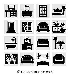meubles, vecteur, icônes