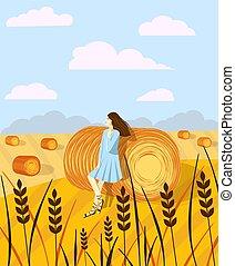 meules foin, fields., rural, fond, bales., girl, secteur, paysage., foin, paysage