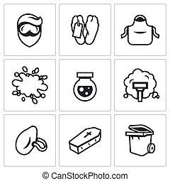 meurtre, ensemble, icônes, après, vecteur, nettoyage