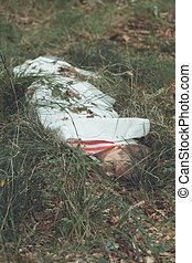 meurtre, feuille, herbeux, champ, victime, sous, mensonge