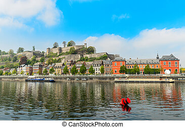 Meuse river and Citadel of Namur fortress on the hill, Namur...