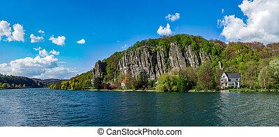 Meuse river near Namur, beautiful rock on riverside, Belgium