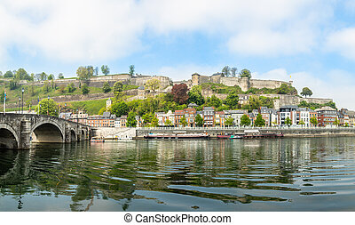Meuse river with Jambes bridge and Citadel of Namur fortress...