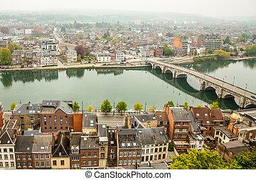 Meuse river with Jambes bridge and city panorama, Namur, ...
