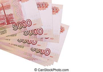 meute, business, russe, copie, échange, tas, mockup, rubles, monnaie, white., isolé, petit, 5000, mensonges, space., factures, ou