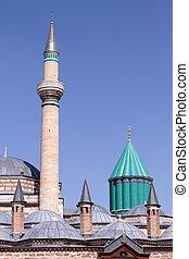 mevlana, moské, dommar, och, minaret, in, konya, -, turkiet