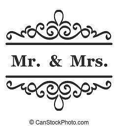 mevr., m., missis, meldingsbord, typografisch, vector, (, ), trouwfeest, meneer, ontwerp
