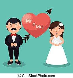 mevr., trouwfeest, hart, m., grafisch, paar, ontwerp