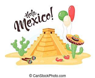 mexcian pyramid illustration