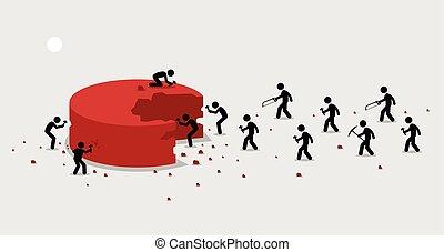 mexer, cortar, pessoas, muitos, torta, porção, themselves., grande, pedaço, apressar-se