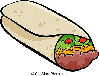 mexičan, burrito, tortilla, karikatura, ilustrace