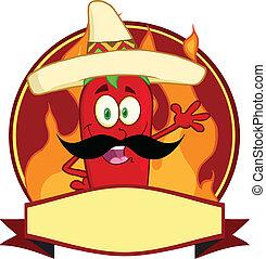 mexičan, chili pepř, karikatura, emblém