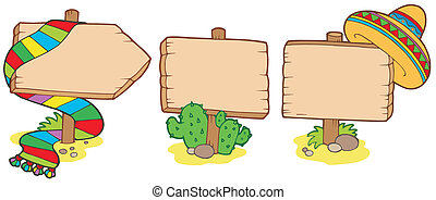 mexičan, dřevěný, podpis