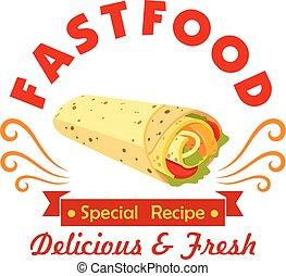 mexičan, hustě food, burrito, znak, jako, výčep, design
