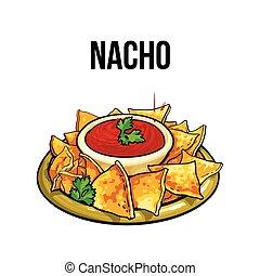 mexičan, nachos, kukuřice tortilla, s, salsa, drzost