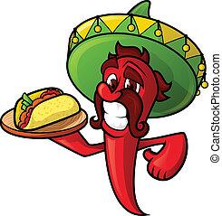 mexičan, pepř, s, tacos
