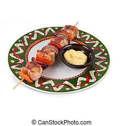 mexian, placa, estilo, carne, platos, asado parrilla, ...