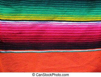 mexicaanse , fiesta, poncho, handwoven, tapijt, achtergrond