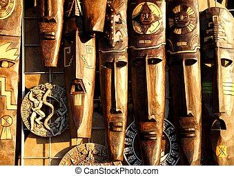 mexicaanse , houten masker, hout, gezichten, met de handen ...