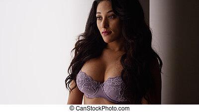 mexicaanse , venster, lingerie, staande vrouw