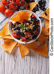 mexicaanse , verticaal, koren, aanzicht, bovenzijde, frites, nachos., salsa