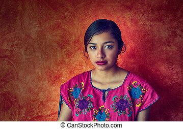 mexicaanse , vrouw, met, mayan, jurkje, latijn