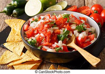 mexicain, apéritif, pico gallo, gros plan, dans, a, bowl.,...