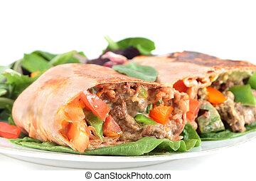 mexicain, bifteck, burrito