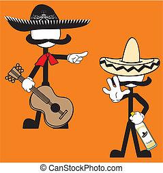 mexicain, cartoon5, mariachi, pictogramme