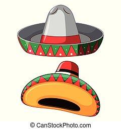 mexicain, chapeau blanc, fond