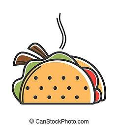 mexicain, chaud, illustration, remplissage, délicieux, taco, vrai