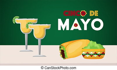 mexicain, cinco, célébration, de, margaritas, nourriture, mayonnaise