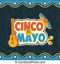 mexicain, cinco, mayonnaise, de, affiche, typographie, ...