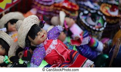 mexicain, coloré, en mouvement, poupées, loin, closeup, souvernirs, robes