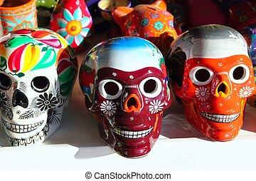 mexicain, coloré, mort, aztèque, crânes, jour
